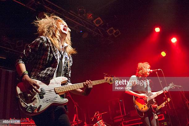 Jakki Walsh and Clancey Jones of Ming City Rockers perform at Electric Ballroom on October 20 2015 in London England