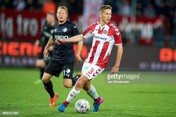 Jakob Ahlmann of AaB Aalborg controls the ball during the Danish Alka Superliga match between AaB Aalborg and Randers FC at Aalborg Portland Park on...