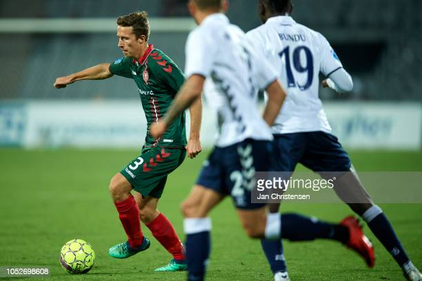 Jakob Ahlmann of AaB Aalborg controls the ball during the Danish Superliga match between AGF Arhus and AaB Aalborg at Ceres Park on October 21 2018...