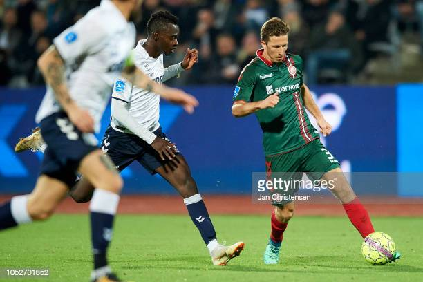 Jakob Ahlmann of AaB Aalborg in action during the Danish Superliga match between AGF Arhus and AaB Aalborg at Ceres Park on October 21 2018 in Arhus...