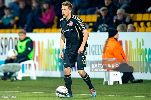 Jakob Ahlmann of Aalborg BK in action during the Superliga football match between FC Nordsjaelland and Aalborg BK in Farum Park Stadium on May 7 2014...