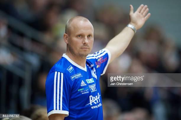 Jakob Andreasen head coach of Silkeborg Voel in action during the Danish HTH Go Ligaen match between Copenhagen Handball and Silkeborg Voel in...