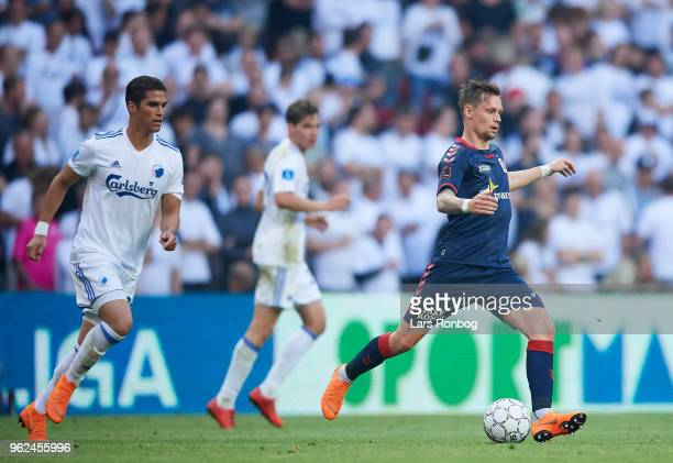 Jakob Ankersen of AGF Aarhus in action during the Danish Alka Superliga Europa League Playoff match between FC Copenhagen and AGF Aarhus at Telia...
