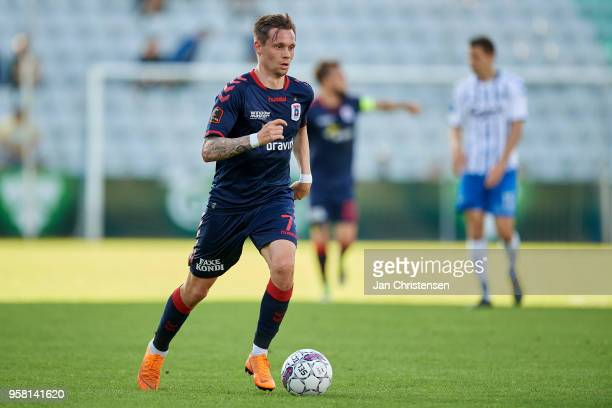 Jakob Ankersen of AGF Arhus controls the ball during the Danish Alka Superliga match between OB Odense and AGF Arhus at EWII Park on May 13 2018 in...