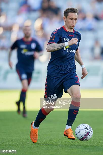 Jakob Ankersen of AGF Arhus in action during the Danish Alka Superliga match between OB Odense and AGF Arhus at EWII Park on May 13 2018 in Odense...