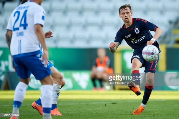 Jakob Ankersen of AGF Arhus kick for his 23 goal during the Danish Alka Superliga match between OB Odense and AGF Arhus at EWII Park on May 13 2018...