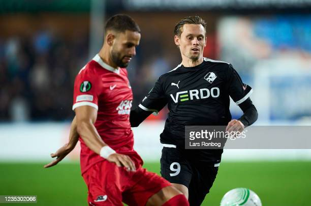 Jakob Ankersen of Randers FC in action during the UEFA Conference League match between Randers FC and AZ Alkmaar at Cepheus Park on September 16,...