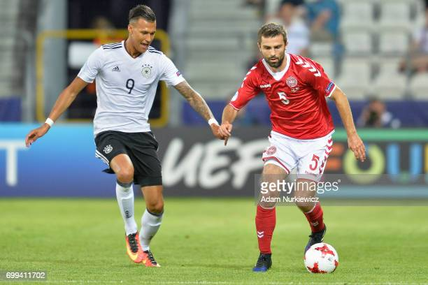 Jakob Blabjerg from Denmark U21 fights for the ball with Davie Selke from Germany U21 during Germany v Denmark 2017 UEFA European Under21...