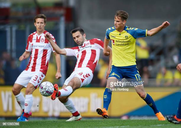 Jakob Blabjerg of AaB Aalborg and Andreas Bruus of Brondby IF compete for the ball during the Danish Alka Superliga match between Brondby IF and AaB...