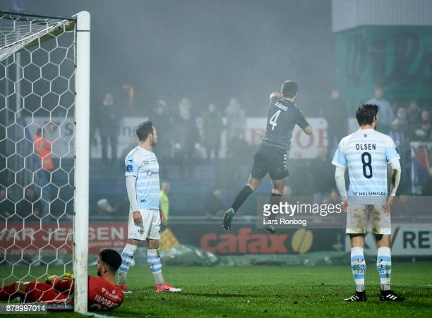 Jakob Blabjerg of AaB Aalborg celebrates after scoring their first goal during the Danish Alka Superliga match between FC Helsingor and AaB Aalborg...