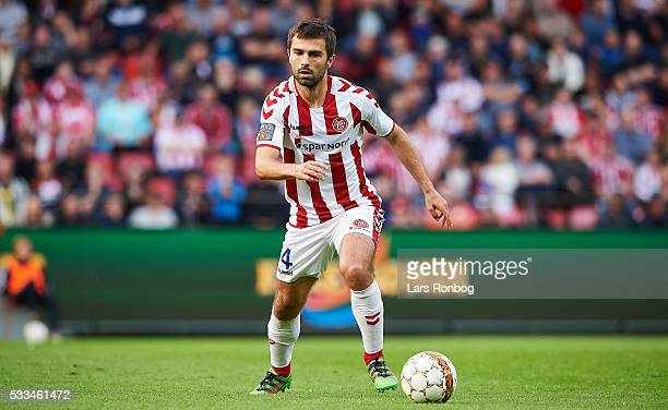 Jakob Blabjerg of AaB Aalborg controls the ball during the Danish Alka Superliga match between AaB Aalborg and Esbjerg fB at Nordjyske Arena on May...