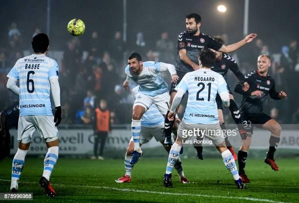 Jakob Blabjerg of AaB Aalborg scores the 10 goal during the Danish Alka Superliga match between FC Helsingor and AaB Aalborg at Helsingor Stadion on...
