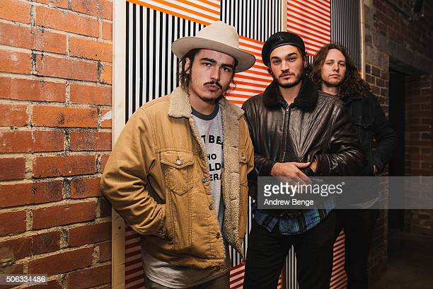 Jakob Bowden Lee Blackwell and James Traeger pose backstage at Headrow House on January 22 2016 in Leeds England