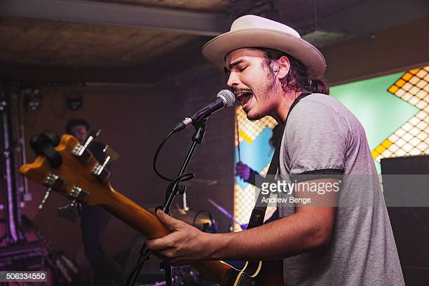 Jakob Bowden of Night Beats performs on stage at Headrow House on January 22 2016 in Leeds England
