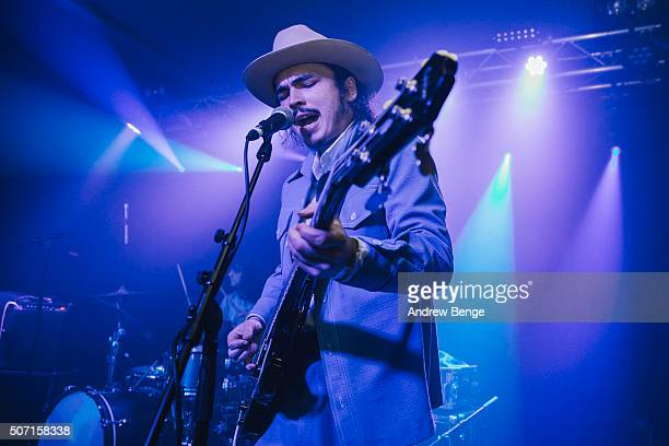 Jakob Bowden of Night Beats performs on stage at Oslo on January 27 2016 in London England