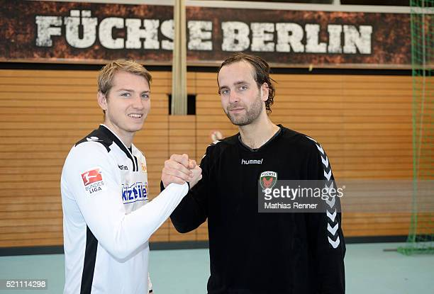 Jakob Busk of 1 FC Union Berlin and Silvio Heinevetter of Fuechse Berlin geben sich die Hand during the goalkeeper training on april 14 2016 in...