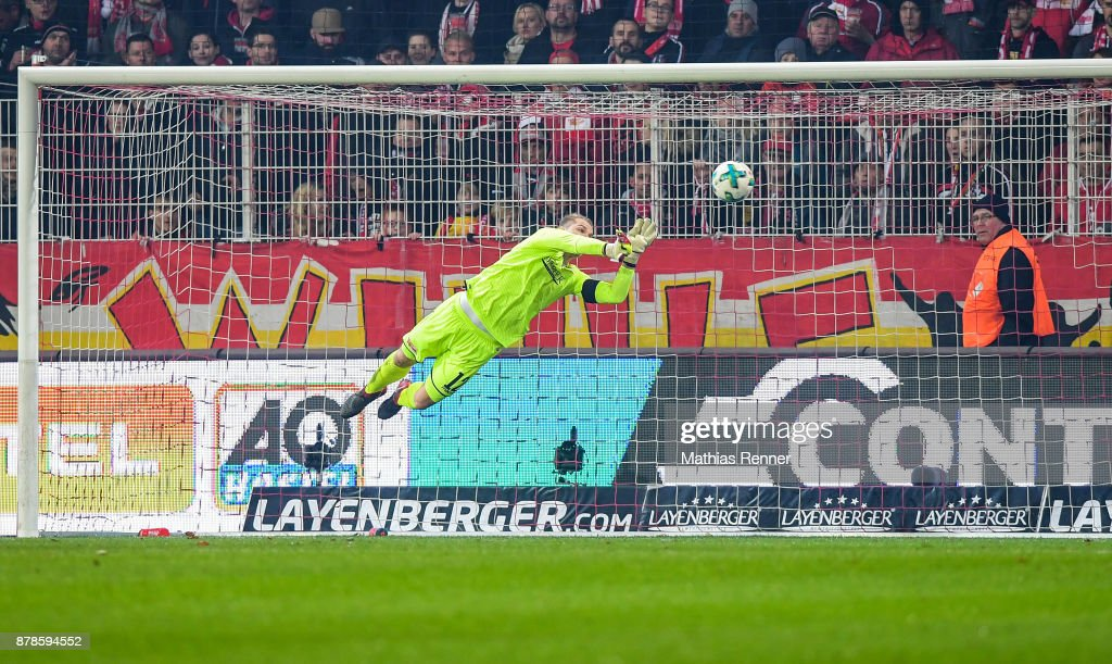 Jakob Busk of 1 FC Union Berlin during the Second Bundesliga match between Union Berlin and SC Darmstadt 98 on November 24, 2017 in Berlin, Germany.