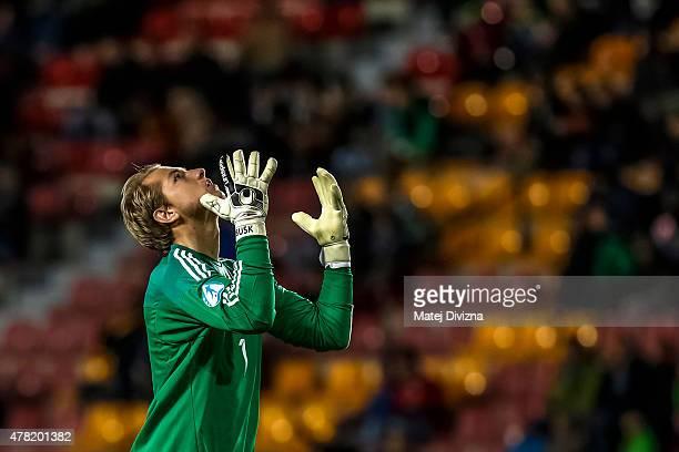 Jakob Busk of Denmark celebrates second goal during UEFA U21 European Championship Group A match between Denmark and Serbia at Letna Stadium on June...