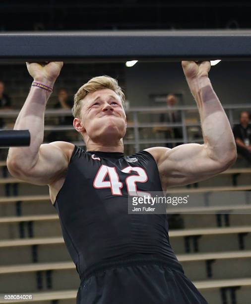 Jakob Chychrun does pullups during the NHL Combine at HarborCenter on June 4 2016 in Buffalo New York