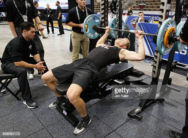 Jakob Chychrun does the Bench press during the NHL Combine at HarborCenter on June 4 2016 in Buffalo New York