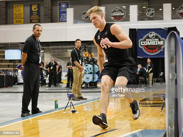 Jakob Chychrun does the Pro Agility test during the NHL Combine at HarborCenter on June 4 2016 in Buffalo New York
