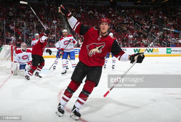 Jakob Chychrun of the Arizona Coyotes celebrates after scoring a goal against goaltender Carey Price of the Montreal Canadiens during the third...