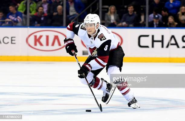 Jakob Chychrun of the Arizona Coyotes controls the puck during their game against the New York Rangers at Madison Square Garden on October 22 2019 in...