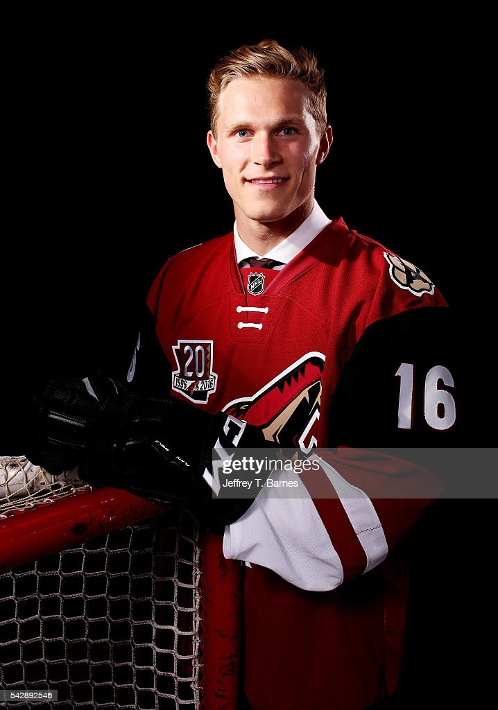 Jakob Chychrun poses for a portrait after being selected 16th overall by the Arizona Coyotes in round one during the 2016 NHL Draft on June 24, 2016 in Buffalo, New York.