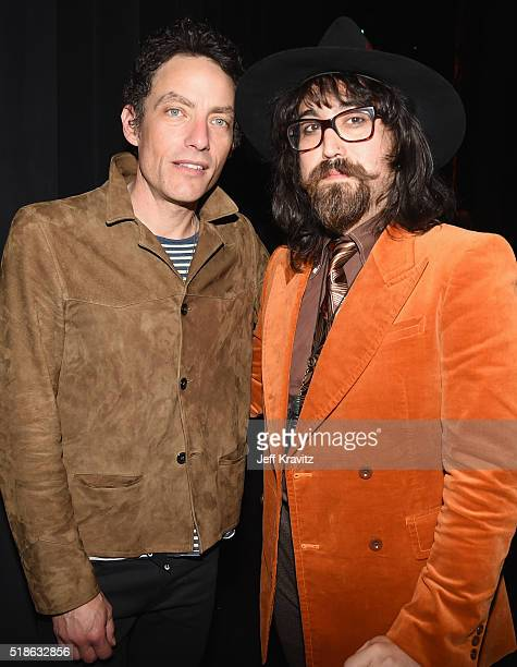 Jakob Dylan and Sean Lennon pose backstage at Michael Dorf Presents The Music of David Bowie at Radio City Music Hall on April 1 2016 in New York City
