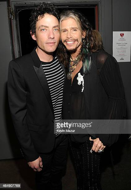 Jakob Dylan and Steven Tyler attend 2014 MusiCares Person Of The Year Honoring Carole King at Los Angeles Convention Center on January 24 2014 in Los...