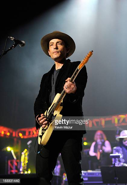 """Jakob Dylan performs on stage during """"Love For Levon"""" Benefit To Save The Barn at Izod Center on October 3, 2012 in East Rutherford, New Jersey."""
