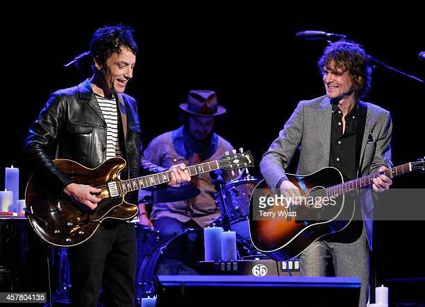 Jakob Dylan performs with Brendan Benson during Brendan Benson and Friends at the Ryman Auditorium on December 18 2013 in Nashville Tennessee