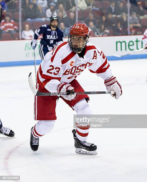 Jakob Forsbacka Karlsson of the Boston University Terriers skates against the Yale Bulldogs during NCAA hockey at Agganis Arena on December 13 2016...