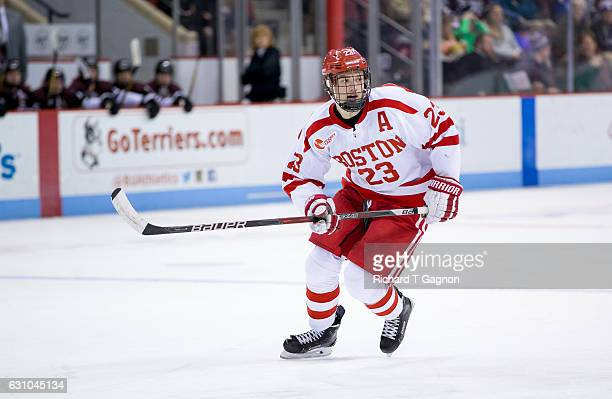 Jakob Forsbacka Karlsson of the Boston University Terriers skates against the Union College Dutchmen during NCAA hockey at Agganis Arena on January 5...