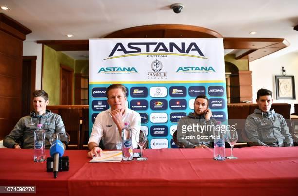 Jakob Fuglsang of Denmark and Astana Pro Team / Alexandr Vinokurov of Kazakhstan General manager Astana Pro Team / Alexey Lutsenko of Kazakhstan and...