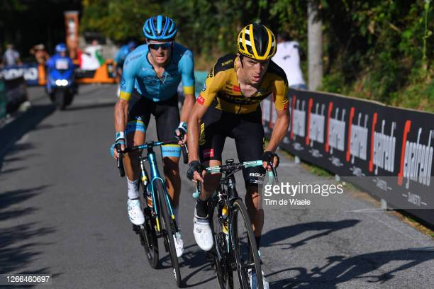 Jakob Fuglsang of Denmark and Astana Pro Team / George Bennett of New Zealand and Team Jumbo - Visma / during the 114th Il Lombardia 2020 a 231km...