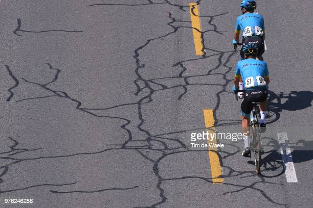 Jakob Fuglsang of Denmark and Astana Pro Team / Magnus Cort of Denmark and Astana Pro Team / Road Condition / during the 82nd Tour of Switzerland...