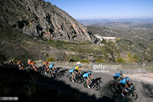 Jakob Fuglsang of Denmark and Astana Pro Team Yellow Leader Jersey / Ion Izagirre of Spain and Astana Pro Team / Dmitry Gruzdev of Kazakhstan and...