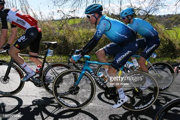 Jakob Fuglsang of Denmark and Team Astana – Premier Tech & Hugo Houle of Canada and Team Astana – Premier Tech during the 56th Tirreno-Adriatico...