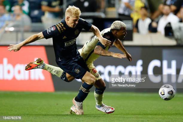 Jakob Glesnes of Philadelphia Union challenges Roger Martínez of Club America during the semifinal second leg match of the CONCACAF Champions League...