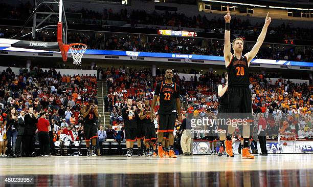 Jakob Gollon of the Mercer Bears gestures toward the crowd after being defeated by the Tennessee Volunteers during the third round of the 2014 NCAA...