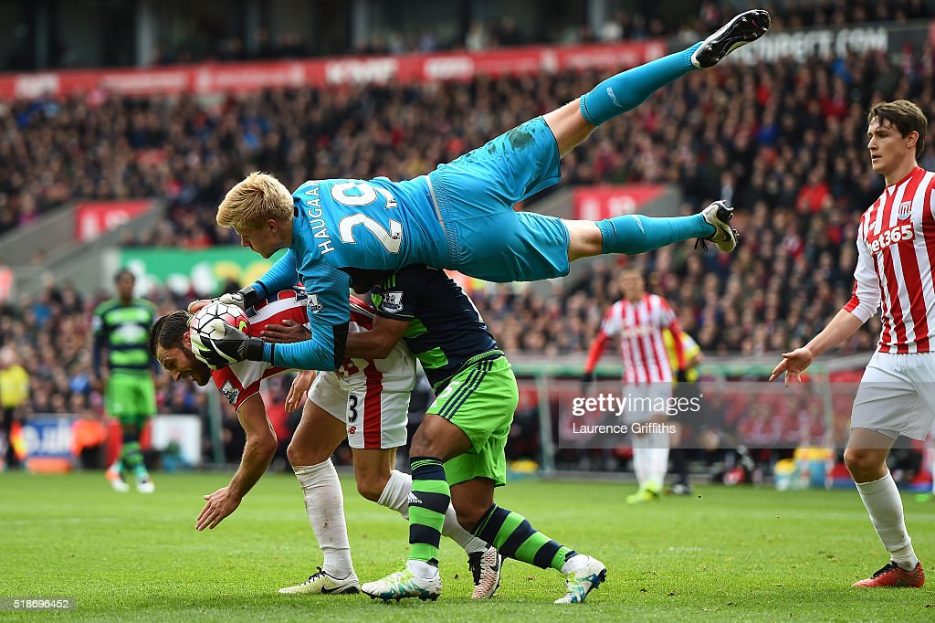 Jakob Haugaard of Stoke City makes a save during the Barclays Premier League match between Stoke City and Swansea City at Britannia Stadium on April 2, 2016 in Stoke on Trent, England.