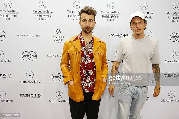 Jakob Haupt and David Roth attend the Esther Perbandt show during the MercedesBenz Fashion Week Berlin Spring/Summer 2016 at Brandenburg Gate on July...