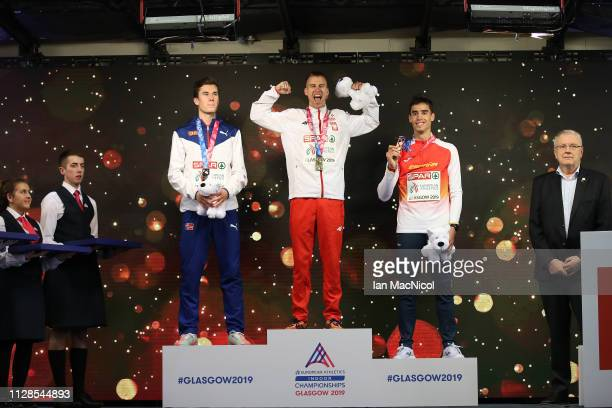 Jakob Ingbrigtsen of Norway Marcin Lewandowski of Poland and Jesus Gomez of Spain with their medals during the medal ceremony for the men's 1500m on...