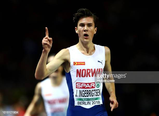 Jakob Ingebrigsten of Norway celebrates as he wins the Men's 5000m Final during day five of the 24th European Athletics Championships at...