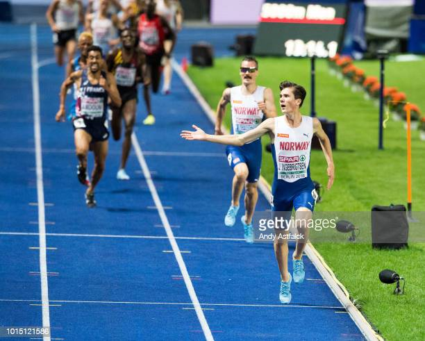Jakob Ingebrigtsen from Norway celebrates prior to winning the Men's 5000m Final on Day 5 of the 24th European Athletics Championships at...