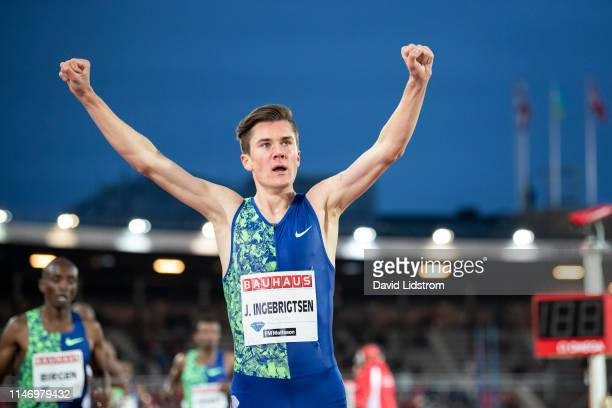 Jakob Ingebrigtsen of Norway after the Men's 1500m Finalduring the Stockholm 2019 Diamond League at Stockholms Olympiastadion on May 30 2019 in...