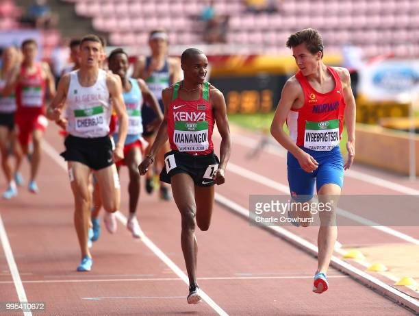 Jakob Ingebrigtsen of Norway and George Meitamei Manangoi of Kenya battle out the final metres during the heat in the mens 1500 metres on day one of...