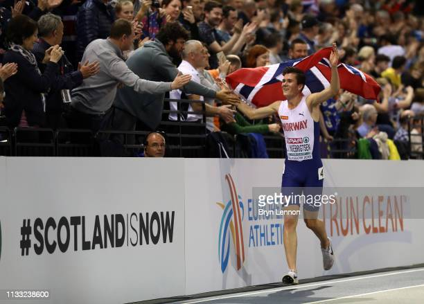 Jakob Ingebrigtsen of Norway celebrates after winning the Mens 3000m Final during the 2019 European Athletics Indoor Championships Day Two at the...