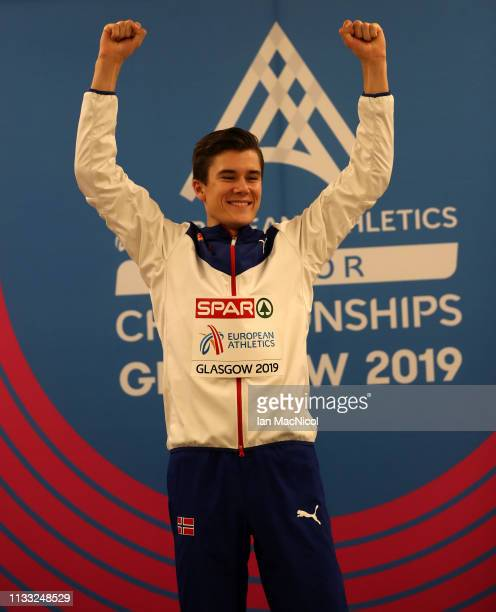 Jakob Ingebrigtsen of Norway celebrates after winning the Mens 3000m Final during the European Athletics Indoor Championships Day Two at the Emirates...